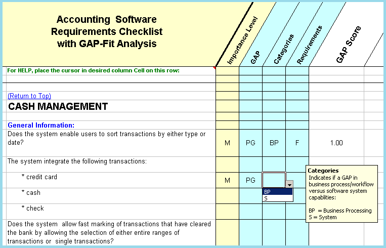 Accounting Software Requirements with Fit/Gap Analysis
