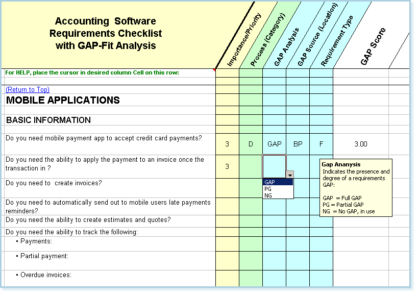 Software Requirements Checklist FitGap Analysis Select – Sample Gap Analysis