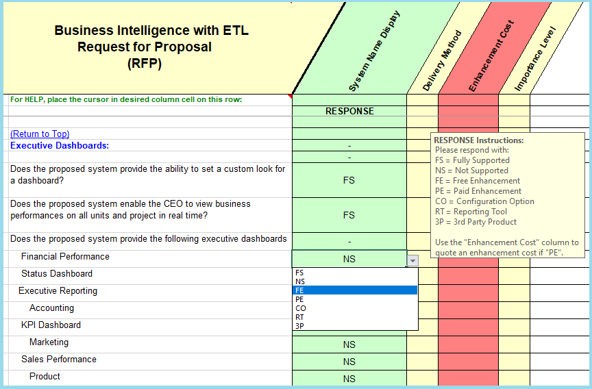 Etl data warehousing software evaluation selection business this rfp master function is useful during both the software selection and the implementation phases of a large system because it enables effective earned pronofoot35fo Choice Image