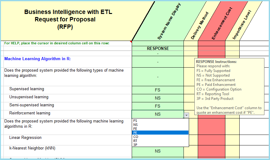 Bi with etl data warehousing software selection rfp for 3pl rfp template