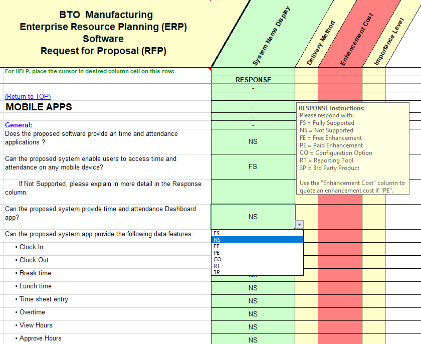 RFP sample of questions taken from the build-to-order quality, assurance and control section