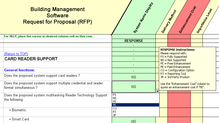 RFP sample of questions taken from the building automation system overall capabilities section