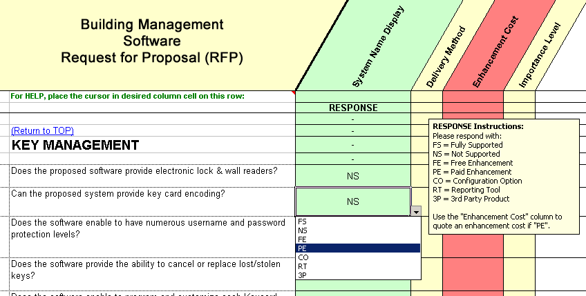 compliance issues sample questions from the TAMS RFP Master template