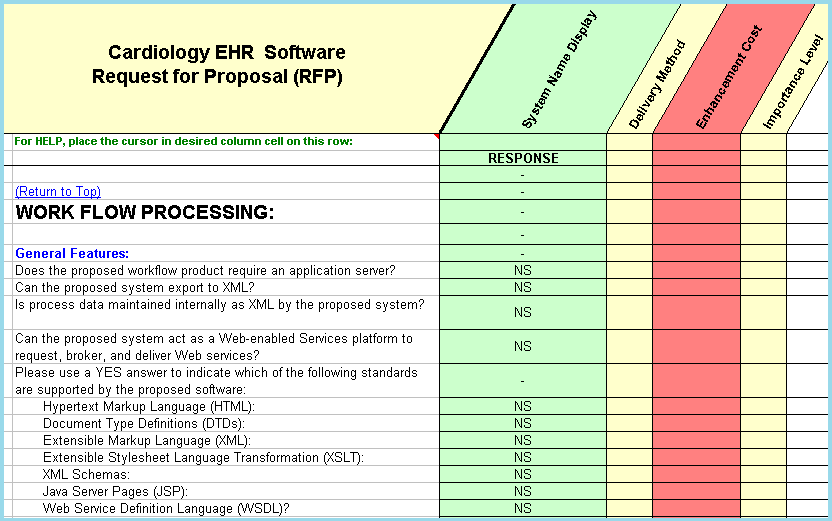 Shows sample of workflow questions in this cardiology EHR software rfp