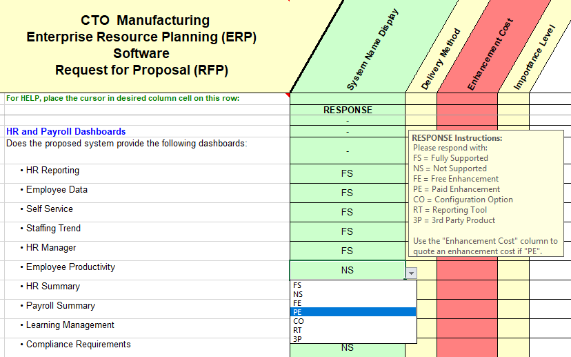 RFP sample of questions taken from the configure-to-order quality, assurance and control section