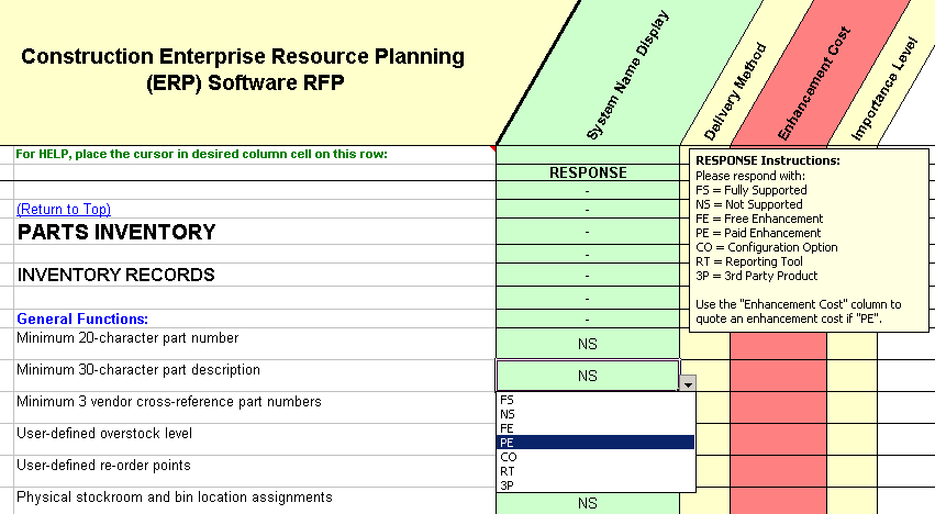 RFP sample of questions taken from the construction overall capabilities section