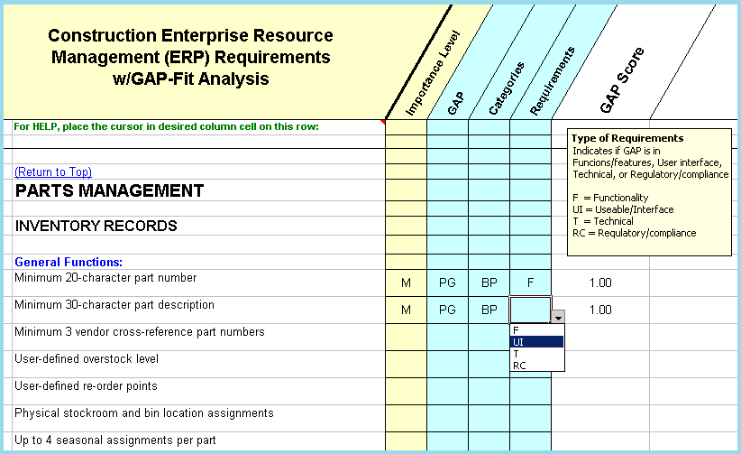 Construction ERP Software Requirements Checklist With FitGap - Erp requirements template
