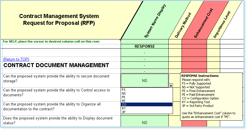 Contract document management sample questions from the RFP Master template