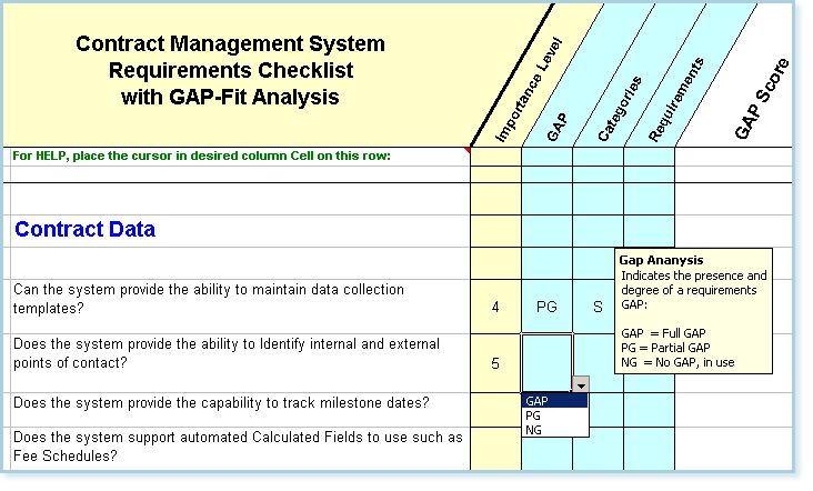 the column titled categories below enables you to designate just why a gap exists ie is it because of a contract management software deficiency or a