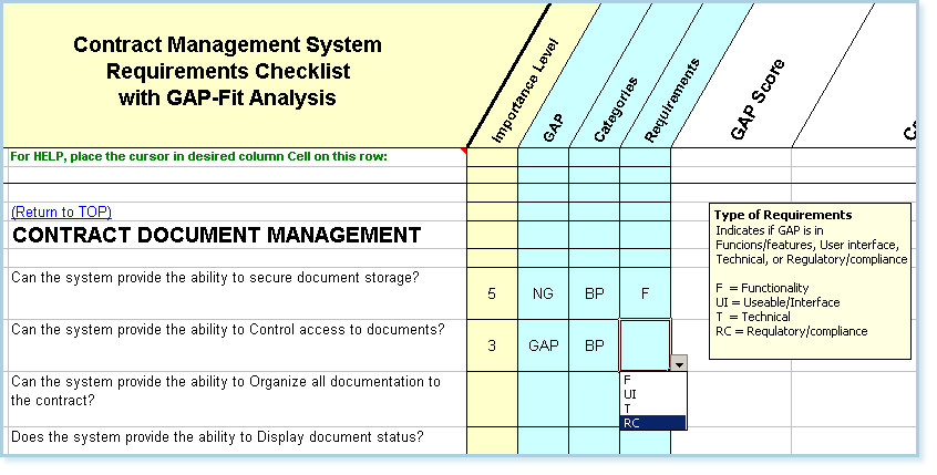 Contract Management Software Requirements Checklist - Fit/Gap Analysis