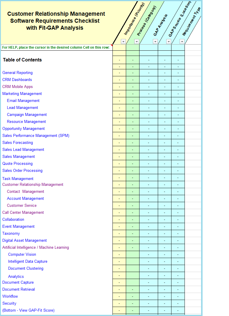 Crm software requirements checklist with fitgap analysis wajeb Images