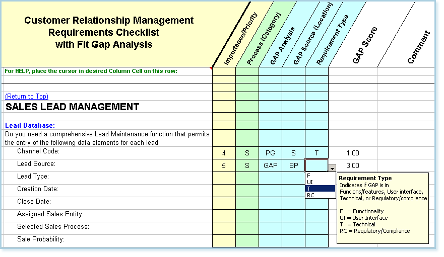 CRM Software Requirements Checklist With Fit Gap Analysis