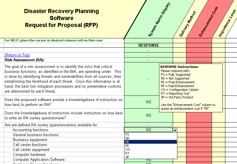 DRP Software Evaluation Selection Disaster Recovery Planning System - Project recovery plan template