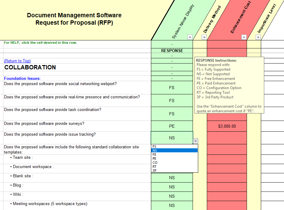 cloud configuration sample questions from the Document Management RFP Master template