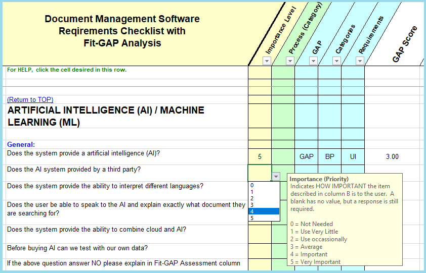 Software System Requirements Checklist Fit Gap Analysis