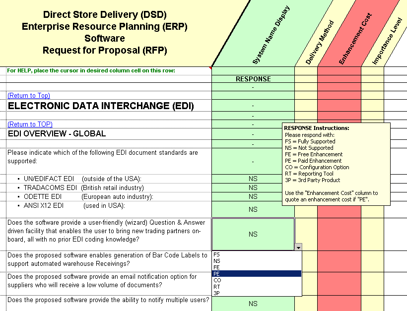 ERP rfp example questions on direct store delivery