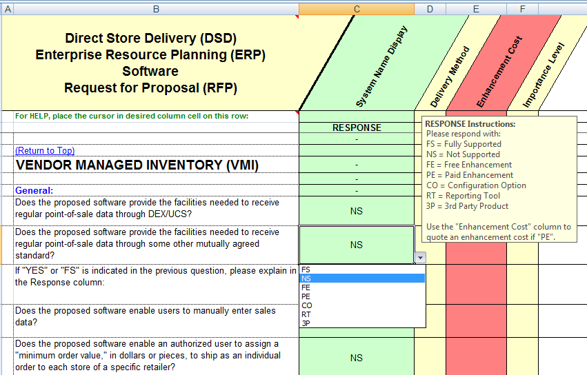 Vendor management inventory rfp sample questions for the direct store delivery ERP system
