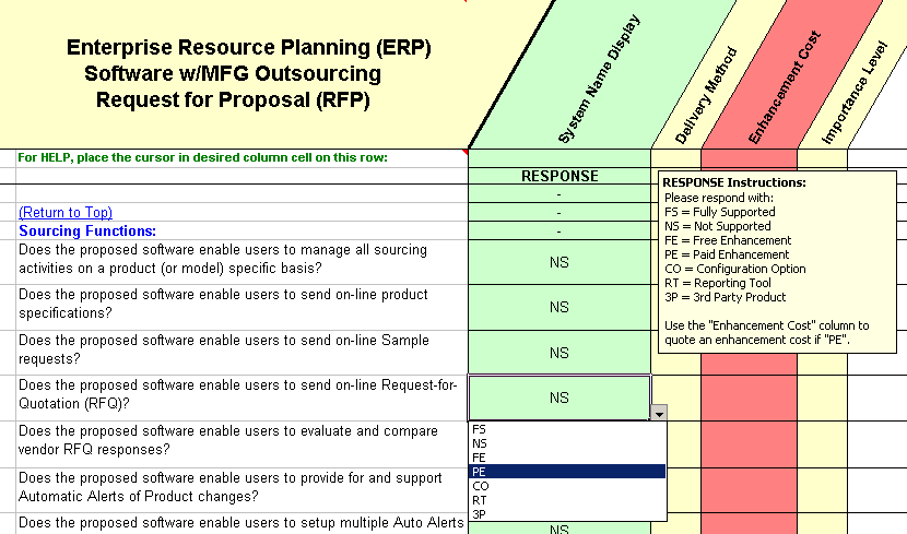 outsource manufacturing questions that is used in this ERP RFP