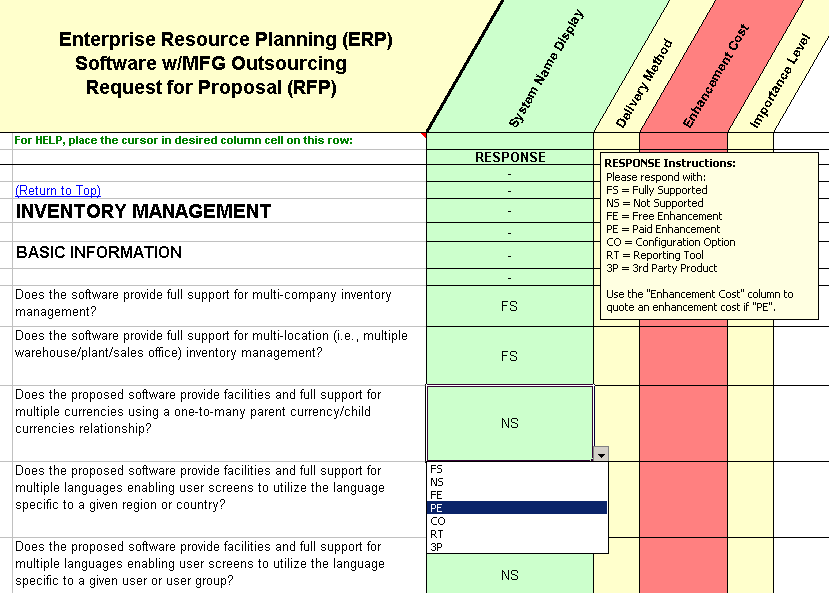 show example of the drop down list for outsource manufacturing companies rfp