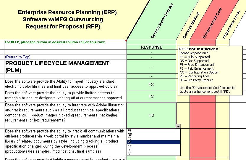 sample ERP rfp question for companies that outsource manufacturing