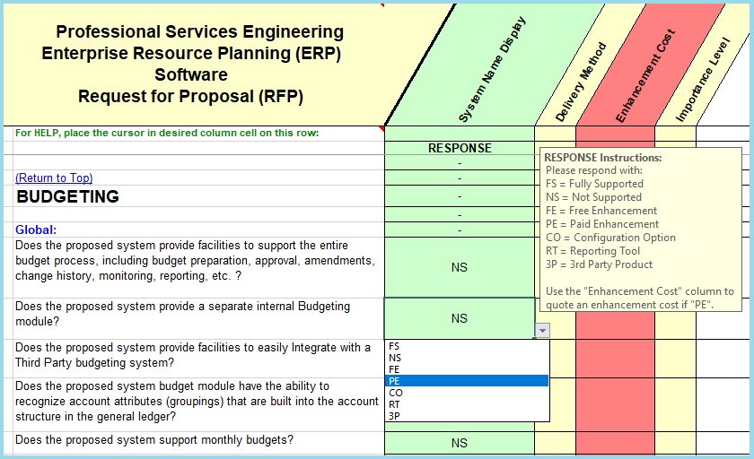 RFP sample of questions taken from the PSA Engineering  ERP project management section