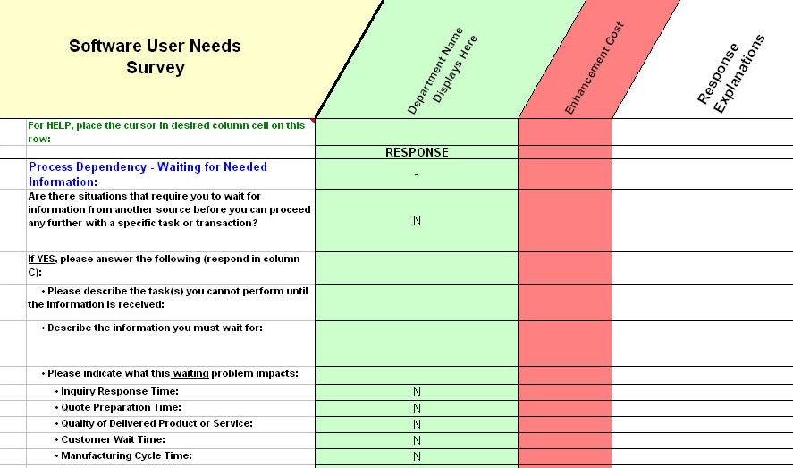 ERP Requirements Collection ERP User Needs Survey ERP Needs – Requirement Analysis Template