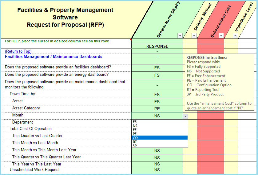 facility & property management questions that is used in the facilities management & PMS RFP