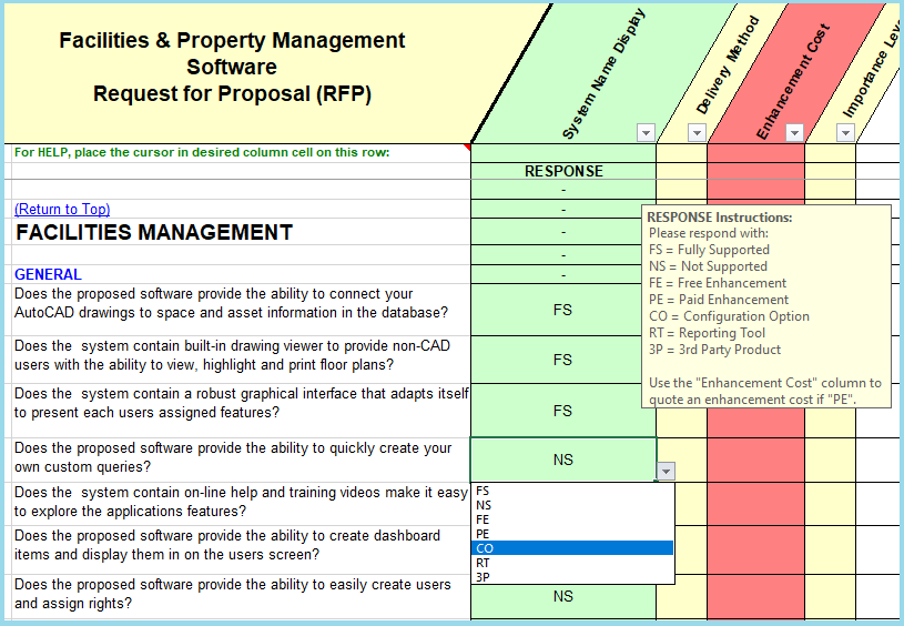 Show example of the drop down list for facility & property management rfp