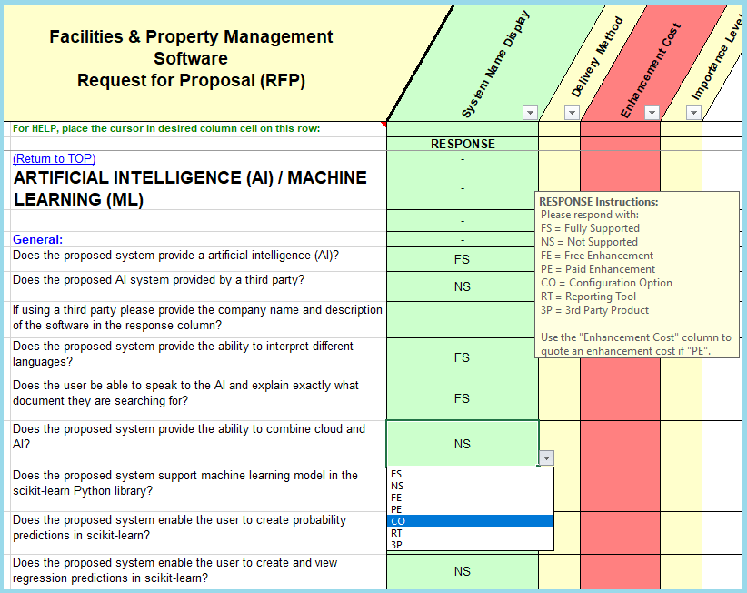 sample facilities management & PMS rfp question for facility & property management