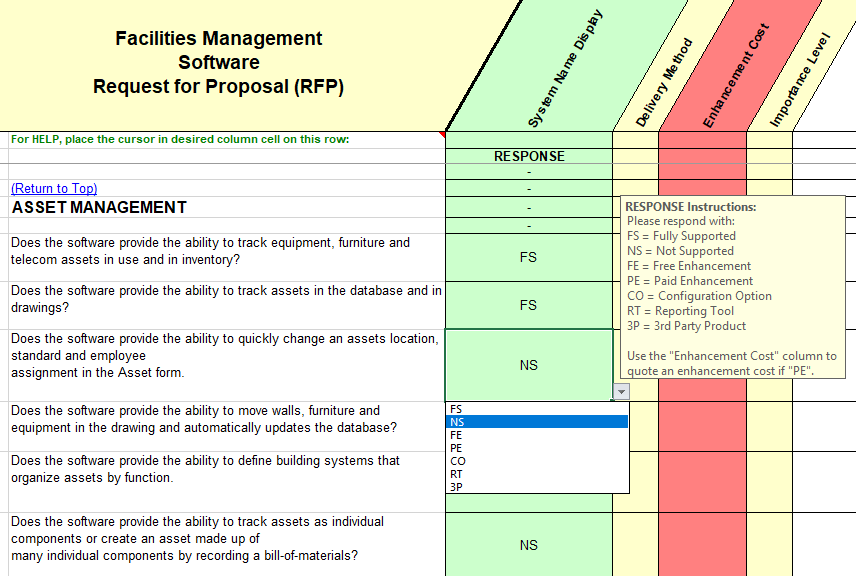 Facilities Management Software Selection Rfp
