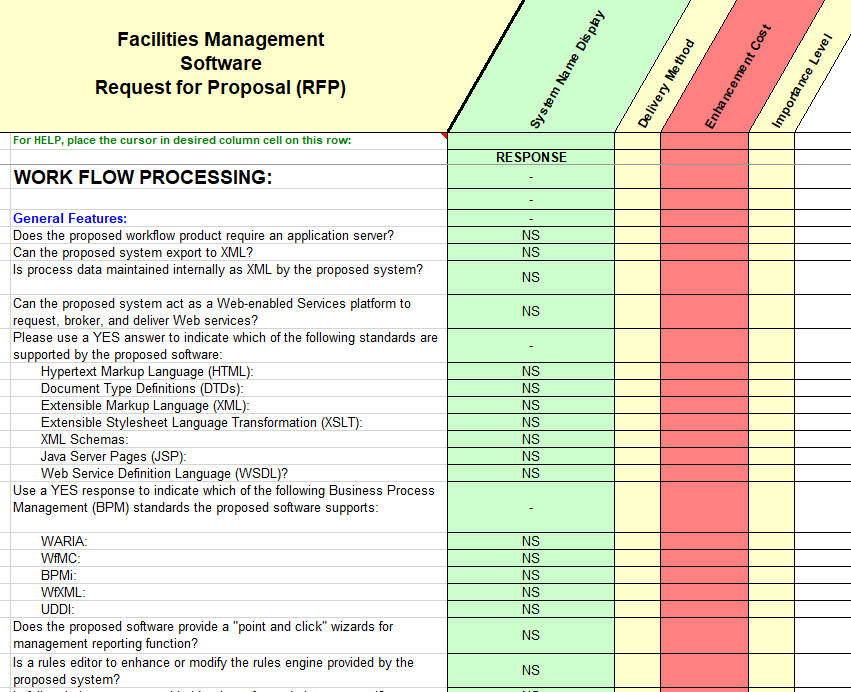 facilities Management Software Selection - RFP