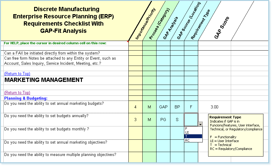 Discrete Erp Software Requirements Checklist With Fitgap