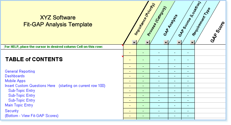 Free Generic Software Requirements Checklist - Fit/Gap Analysis ...