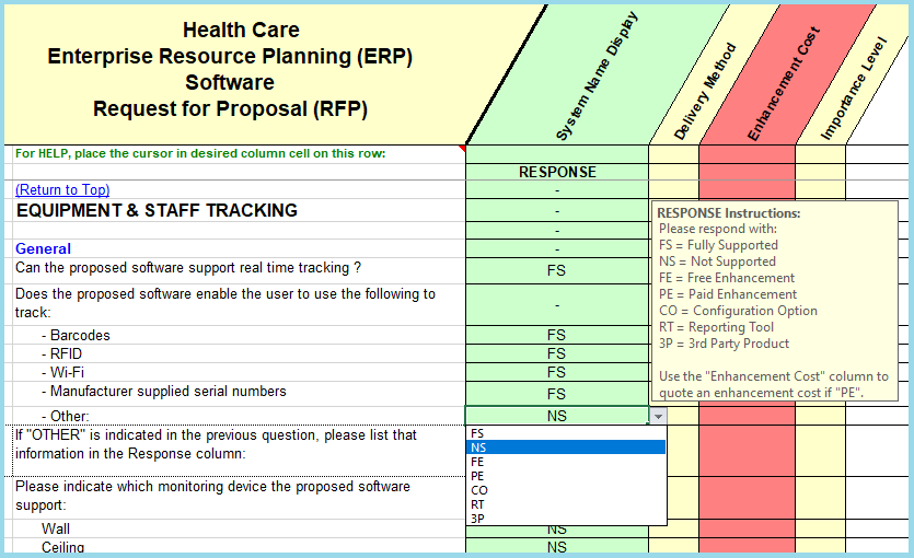 Medical Equiptment Sample Questions From The Healthcare ERP RFP Master  Template  Evaluation Proposal Sample
