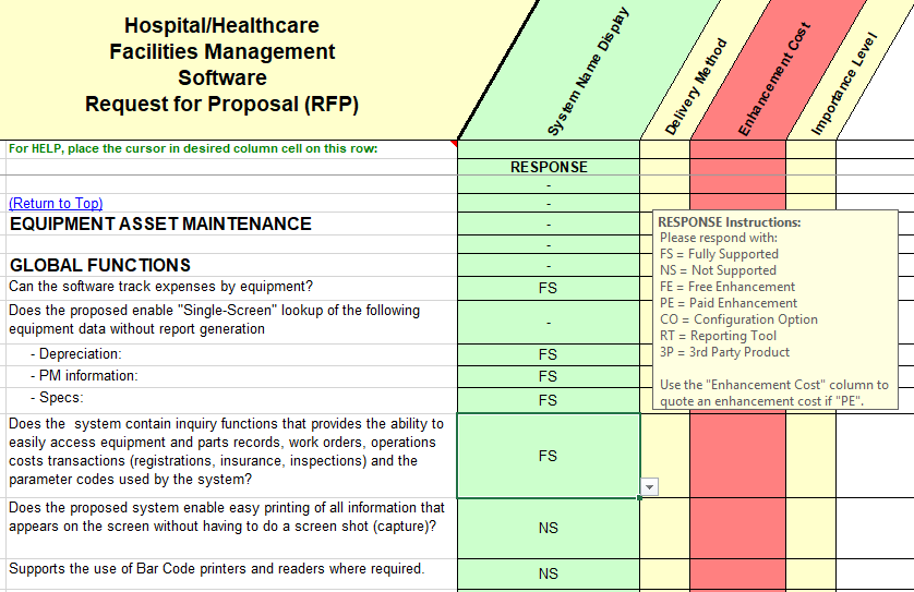 Healthcare Facilities Software Selection - RFP