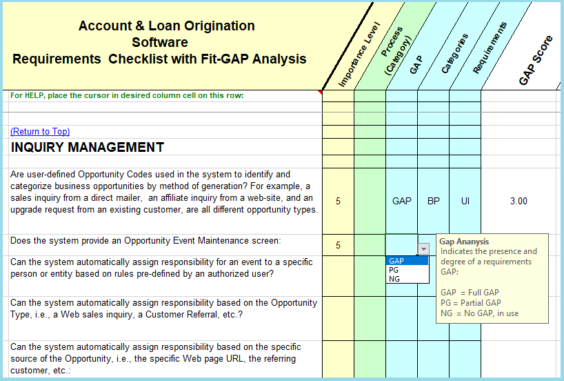 Mortgage LOS Software Requirements Checklist - Fit/Gap Analysis