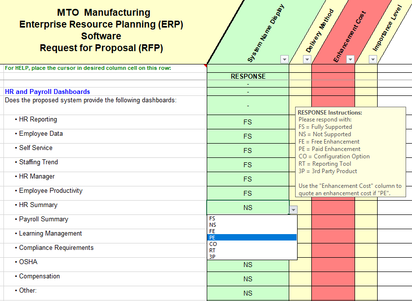 RFP sample of questions taken from the make-to-order quality, assurance and control section