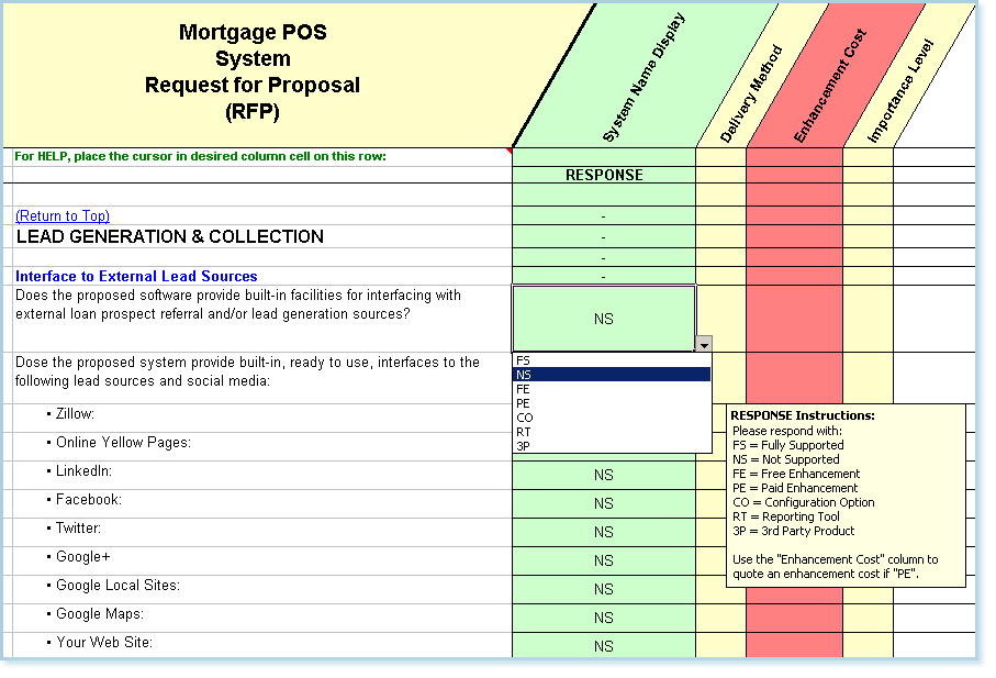 RFP sample of questions taken from the mortgage POS lead generation and collection section