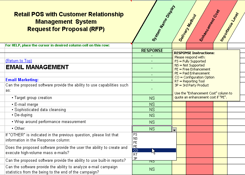 Show example of the drop down list for customer relationship management rfp