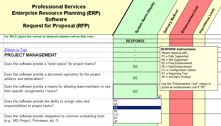 RFP sample of questions taken from the PSA ERP project management section
