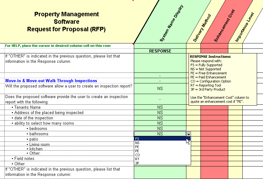 Show example of the drop down list for property management rfp