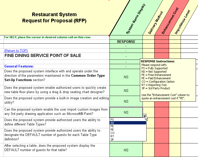 RFP Sample Of Questions Taken From The Fine Dining Service Point Of Sale  Section