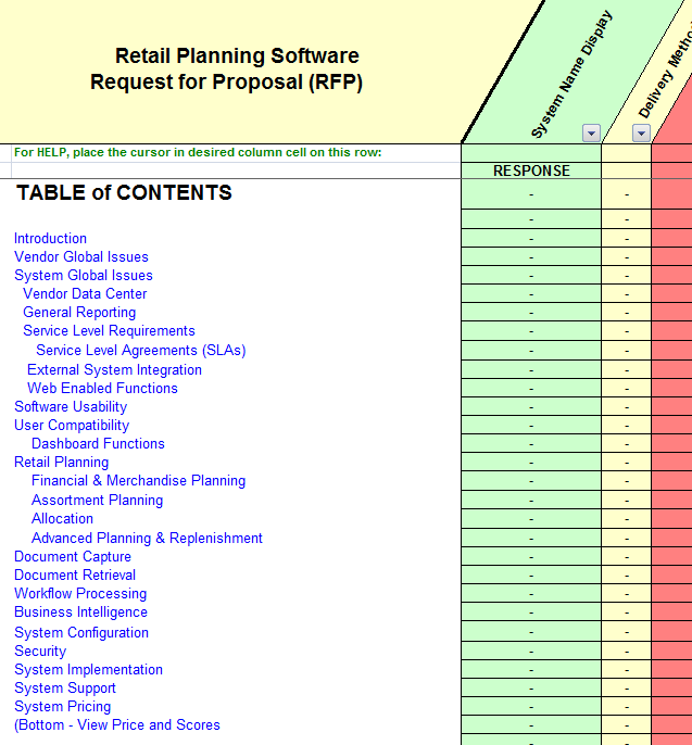 Retail Planning Merchandising Software Selection - RFP