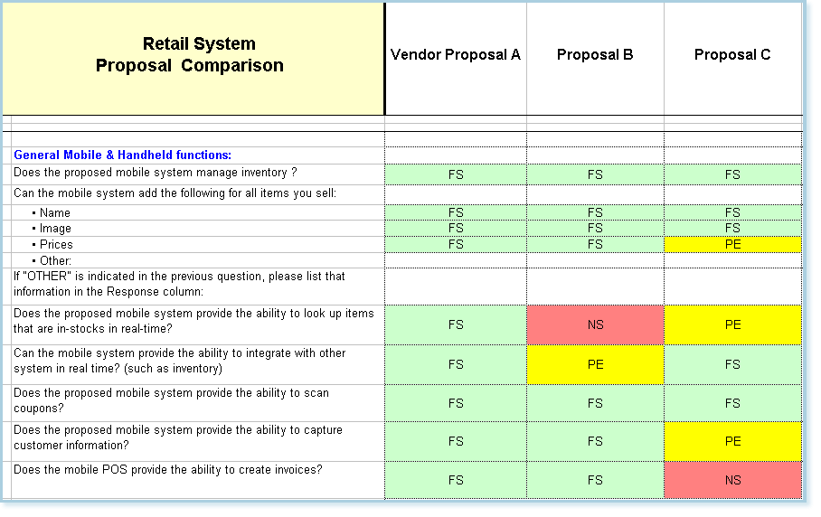 software vendor comparison template - software vendor selection criteria template gallery