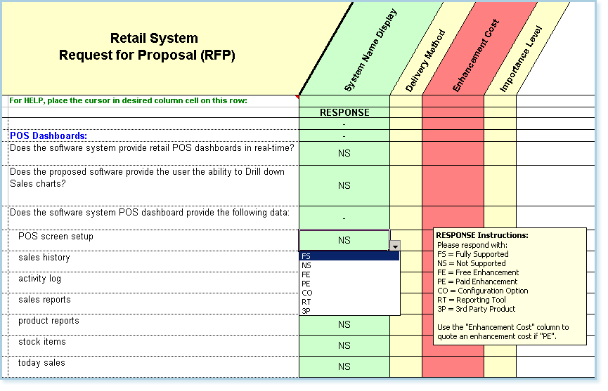 Point of sale dashboard sample questions from the retail POS RFP Master template