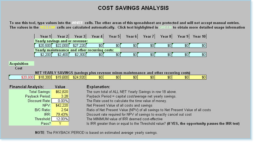 Rfp template features and examples cost savings analysis calculates and illustrates yearly savings payback period return on imvestment roi internal rate of return irr saigontimesfo