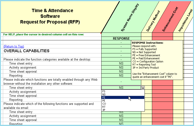 RFP sample of questions taken from the time & attendance overall capabilities section