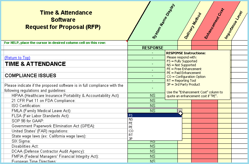 time attendance software selection rfp