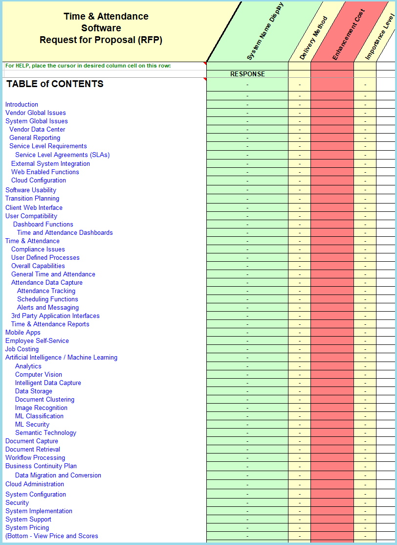 Time and attendance table of content