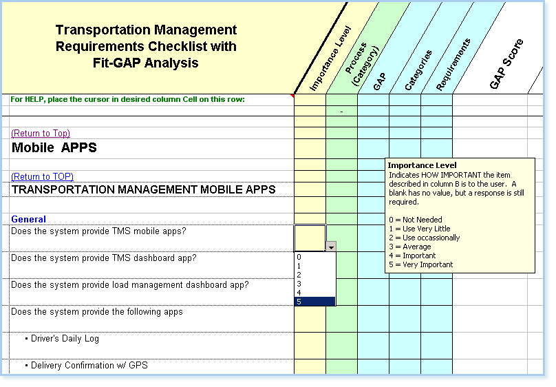 TMS Software Requirements Checklist with Fit/Gap Analysis